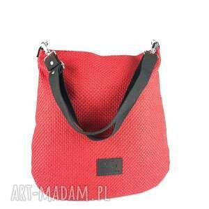 na ramię hobo xxl kolor ceglasty czerwony efekt 3d, torebka ramię