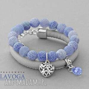 ręcznie zrobione bransoletki blue agate & gary strap set