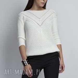 mkm swetry sweterek z ażurową wstawką, swe041 ecru mkm, dzaninowy, ażurowy