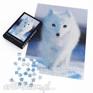 handmade puzzle puzzle - biały lis - 60x42 cm - 600 elementów