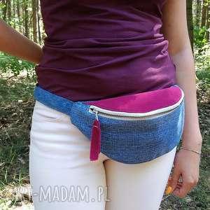 dwukolorowa nerka z jeansu, torebka, nerka, torebeczka, dżins, jeans, nerki