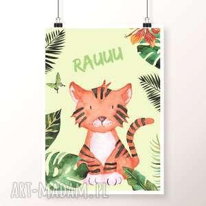 plakat rau a4 - tygrys, tygrysek, rau, dżungla