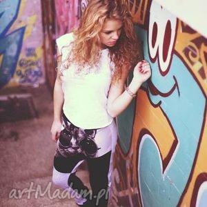 spodnie fajne z niskim krokiem bawełniane nadruk, spodnie, luźne, znadrukiem