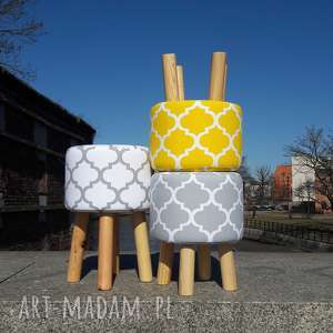 Pufa Koniczyna Maroco Żółto - Biała 36 cm, puf, stołek, taboret, ryczka, dziecko