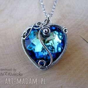 wisiorek serce swarovski bermuda blue, wire wrapping, wisiorek