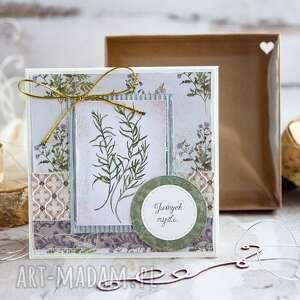 naturalna kartka z zielnika mrufru na każdą okazję pudełeczko efektem