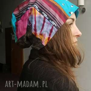 ręcznie robione czapki czapka duża turbanowa etno boho wiosenna patchwork - box e1