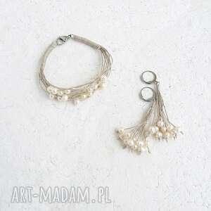perłowa biżuteria komplet