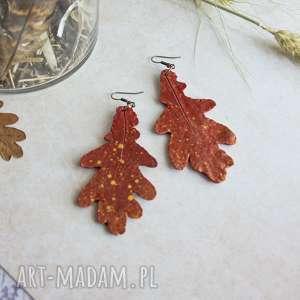 kolczyki dębowe liście, jesienne, kolczyki, jesienne polymer