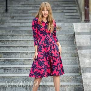 sukienka kopertowa rozkloszowana atencja granatowe kwiaty, atencja