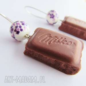 kolczyki mleczne czekoladki, kolczyki, modelina, masa, fimo, czekolada