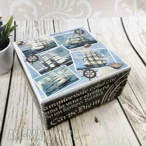 drewniana szkatułka, pudełko - morskie dr23, pudełko, morze