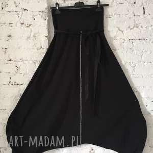 night fever-spodnie, dresowe, bawełniane, efektowne, luźne, czarne, szarawary