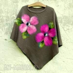 hand made poncho ponczo khaki różowe kwiaty