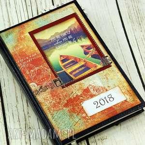 Kalendarz książkowy- LIFE, kalendarz, terminarz, 2018, cytaty, sentencje, łódka