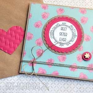dla siostry best sister ever kartka handmade, siostra, siostry