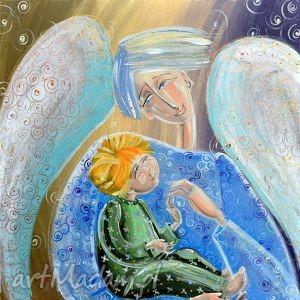 Prezent Anioł stróż z dzieckiem, 4mara, dziecko, czajkowska, obraz, prezent, anioł