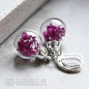 925 srebrne kolczyki gipsówka, kolczyki, kwiaty, natura, róż, kula, szkło