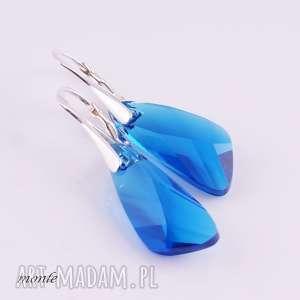 błękitne skrzydła kolczyki - swarovski srebrne