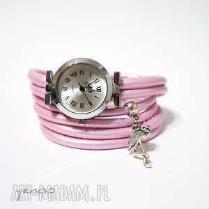 handmade zegarki zegarek, bransoletka - różowy, metaliczny flaming