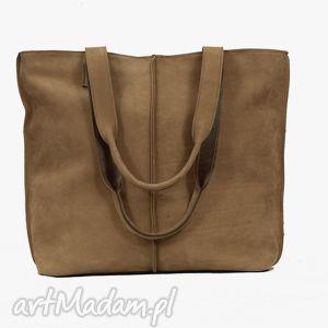 jasno brązowa torba ze skóry nubukowej, torba, torebka, handmade, wygodna, duża