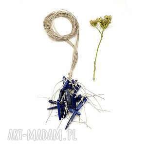 lapis lazuli sople - lniany naszyjnik, kobaltowy, sople, len, naturalny, lekki