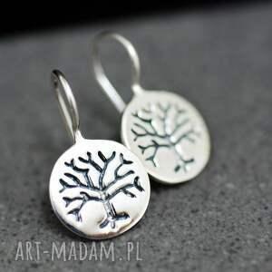 925 srebrne kolczyki Drzewo życia , drzewo, życie, srebro, srebrny, medalion, koło