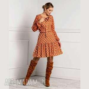sukienka adora mini stivenia, mini, rozkloszowana, falbany, grochy sukienki