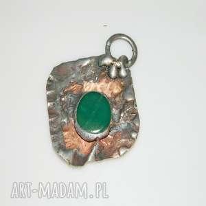 miedziany wisior-agat zielony , wisior, wisior-miedziany, unikalna-biżuteria, miedź