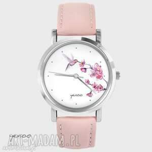 Prezent Zegarek, bransoletka - Koliber, oznaczenia pudrowy róż, skórzany, zegarek