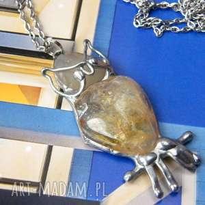 naszyjnik sowa z cytrynem, wisiorek sowa, sową, kamieni