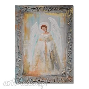 anioł, obraz ręcznie malowany