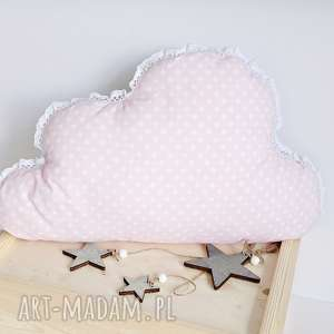Poduszka chmurka różowa w groszki, poduszka-dziecięca, poduszka-chmurka