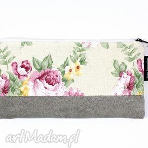 piórnik flowers 12, kosmatyczka, etui, kwiaty, piórnik, róże, zamsz