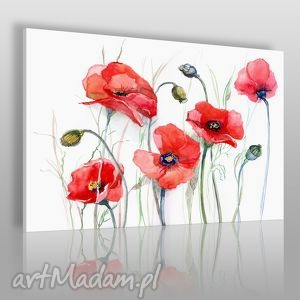 obraz na płótnie - maki kwiaty - 120x80 cm 14301 - maki, kwiaty, rośliny