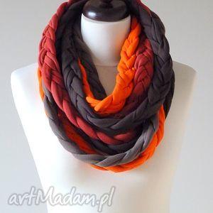 ręczne wykonanie szaliki warkocze brązowo-pomarańczowo-ceglaste