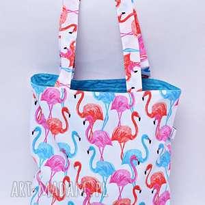 torba na zakupy ekologiczna shopperka flamingi błękit, torba, shopperka