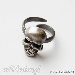 pierścionek regulowany - czaszka, biżuteria, srebro, pierścionki