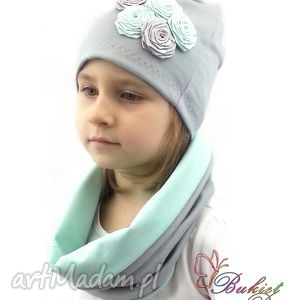 komplet dla dziewczynki, szalik, kominy, czapki, czapka