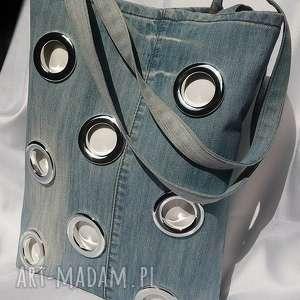Torba z Jeansu ze Srebrnymi Kółeczkami, torba, eko-torba, jeans, dżins, denim