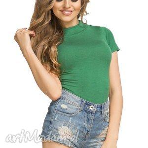 Bluzka z półgolfem i krótkim rękawem T182, zielona, bluzka, półgolf, krótki, rękaw