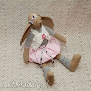 Żona marynarza, królik, maskotka, szmacianka, roczek, chrzest, różowa