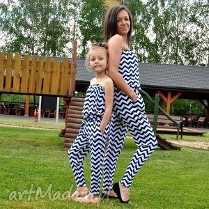 piękny komplet kombinezonów mama i córka, marynarski, kombinezony