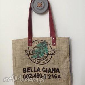 prezent na święta, torba bella giana, len, skóra, juta