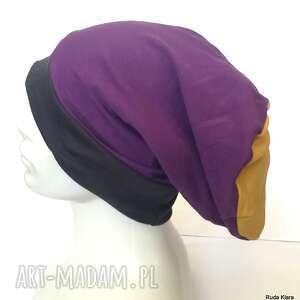 czapka unisex zółta - fioletowa - granat e1, czapka, smerfetka, etno, boho, folk