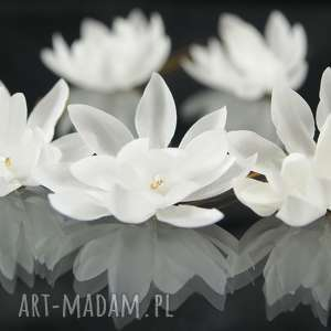 wyjątkowy prezent, kokówka ecru 1, jedwab, kwiat, toho, ozdoba, ślub