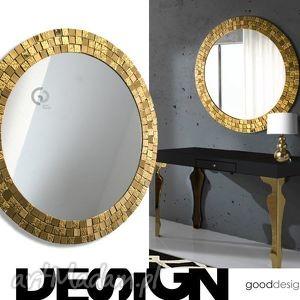 dom lustro w złotej ramie goldenea 80 cm, lustro, lusterko, mozaika, złote, złoto