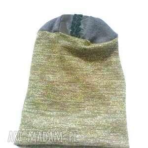 czapka damska wiosenna na podszewce rozmiar uniwersalny, box 44-polecam, złota etno