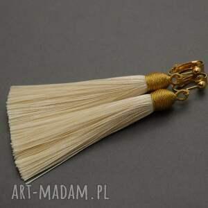 sisu klipsy z chwostami, sznurek, wyjściowe, długie, eleganckie, kremowe, ecru