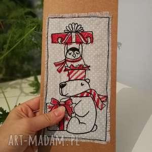 haftowana kartka - kartka, świąteczna, haft, haftowana, eko